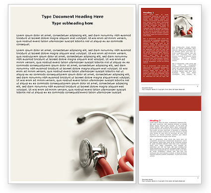 Medical: Phonendoscope In A Gray Red Colors Word Template #04712