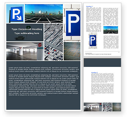 Cars/Transportation: Parking Lot Word Template #04727
