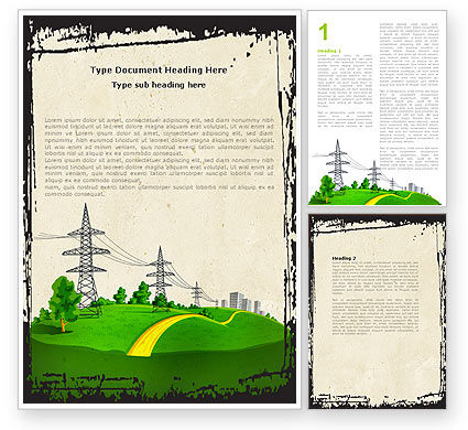 Electric Power Line Word Template, 04777, Careers/Industry — PoweredTemplate.com