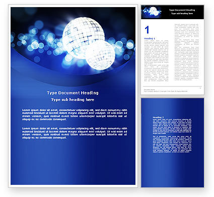 Disco Mirror Ball Word Template, 04778, Careers/Industry — PoweredTemplate.com