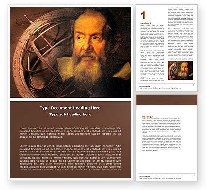 Education & Training: Galileo Galilei Word Template #04788