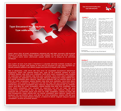 Red Piece Word Template, 04790, Consulting — PoweredTemplate.com