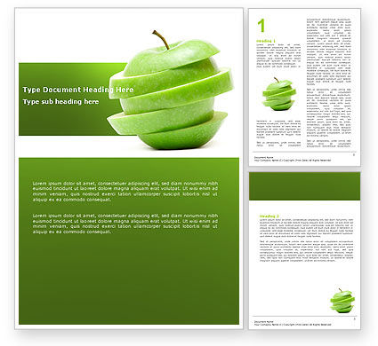 Sliced Green Apple Word Template, 04794, Food & Beverage — PoweredTemplate.com