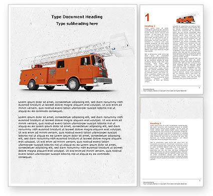Fire Engine Word Template, 04818, Careers/Industry — PoweredTemplate.com