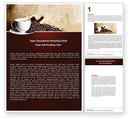 Coffee Break With Cappuccino Word Template, 04820, Food & Beverage — PoweredTemplate.com