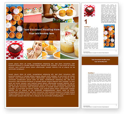 Food & Beverage: Cupcakes Word Template #04823