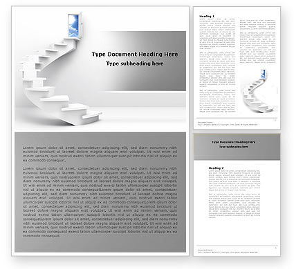 Stairway To Exit Word Template, 04849, Careers/Industry — PoweredTemplate.com