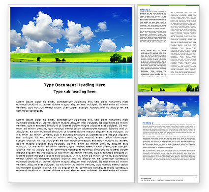 Nature & Environment: Sunny Landscape Word Template #04863