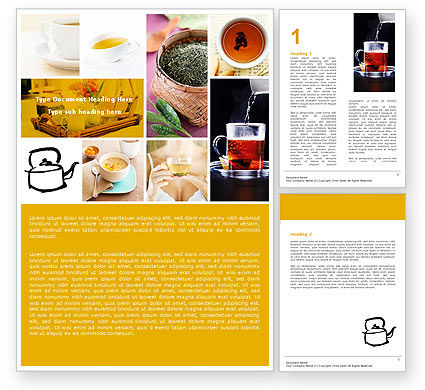 Food & Beverage: Tea Collage Word Template #04871