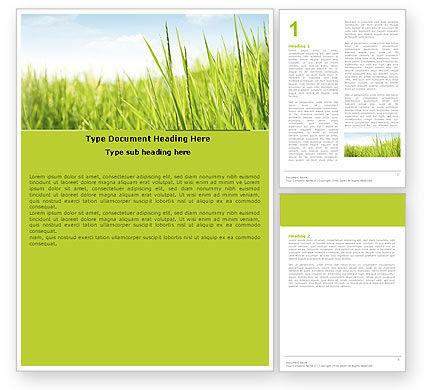 Green Grass Under Blue Sky Word Template, 04885, Nature & Environment — PoweredTemplate.com
