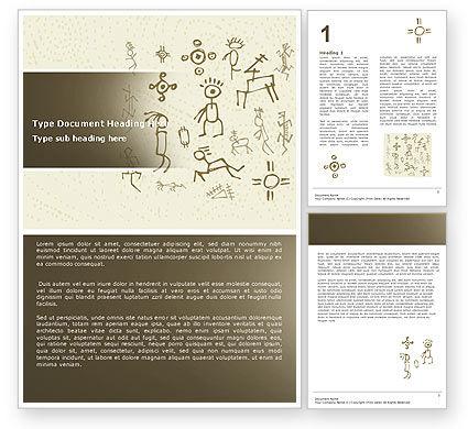 Ancient Petroglyphs Word Template, 04912, Technology, Science & Computers — PoweredTemplate.com