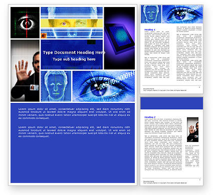 Technology, Science & Computers: Biometrics Word Template #04932