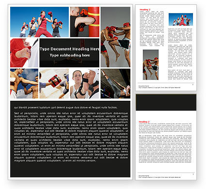 Sports: Kickboxing Word Template #04933