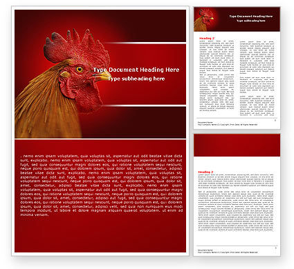 Rooster Word Template, 04937, Agriculture and Animals — PoweredTemplate.com