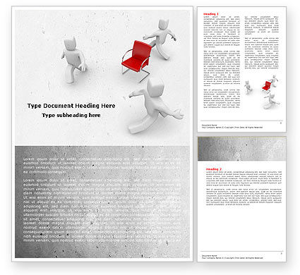 Businessmen Running Around Chairman Word Template, 04943, Careers/Industry — PoweredTemplate.com