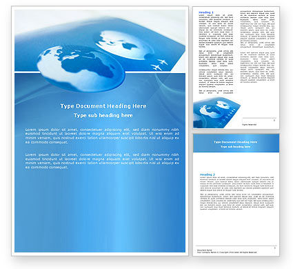 Air Transportation Word Template, 04946, Cars/Transportation — PoweredTemplate.com