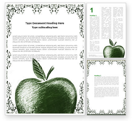 Art & Entertainment: Sketch Apple Word Template #04948