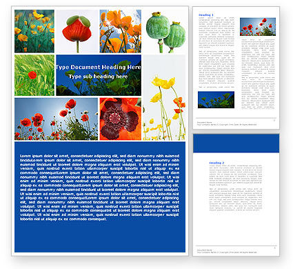 Nature & Environment: Poppy Word Template #04965