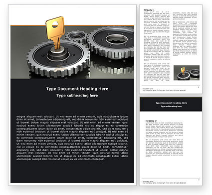 Business Concepts: Key To Lock Mechanism Word Template #04966