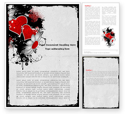 Holiday/Special Occasion: Heart Pattern Word Template #04968