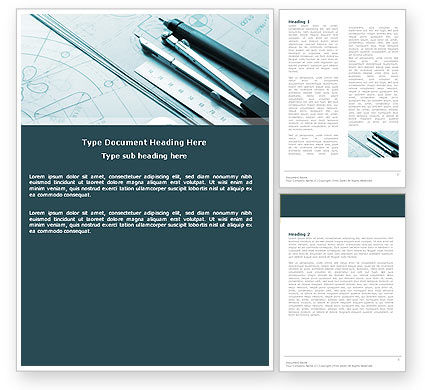 Working Drawings Word Template, 04971, Careers/Industry — PoweredTemplate.com