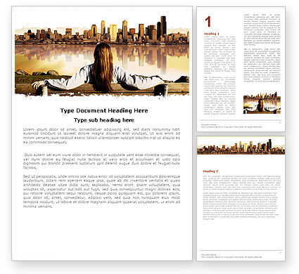 Construction: City View Word Template #04983