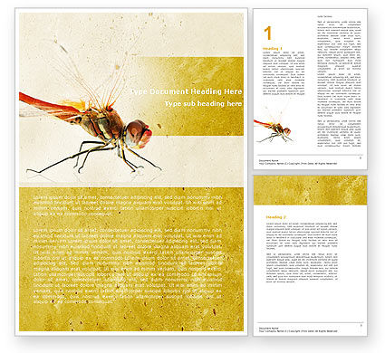 Dragonfly Word Template, 04999, Agriculture and Animals — PoweredTemplate.com