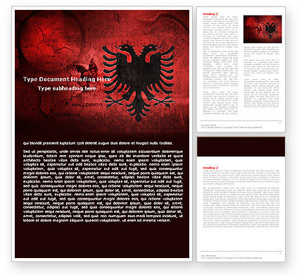 Albania Word Template, 05002, Flags/International — PoweredTemplate.com