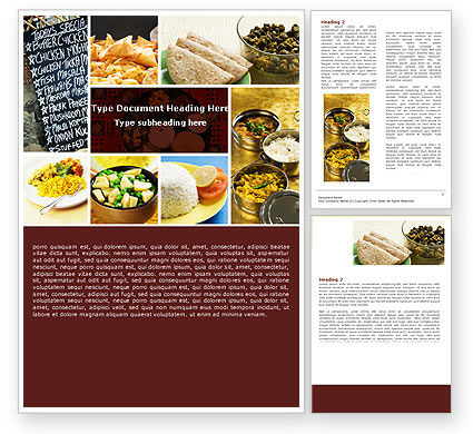 Indian Food Word Template, 05011, Food & Beverage — PoweredTemplate.com