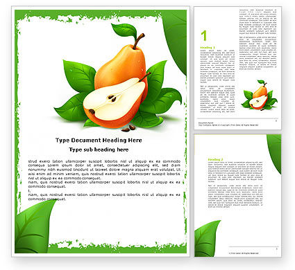 Free Pear Word Template, 05020, Food & Beverage — PoweredTemplate.com