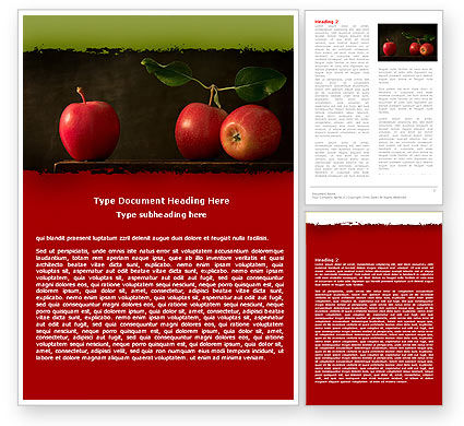 Agriculture and Animals: Red Apples Word Template #05037