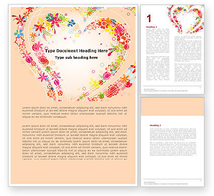 Blooming Heart Word Template, 05055, Holiday/Special Occasion — PoweredTemplate.com