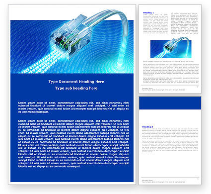 Patch Cord In Blue Colors Word Template, 05058, Telecommunication — PoweredTemplate.com