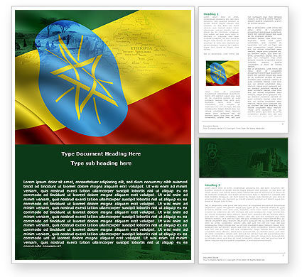 Ethiopia Word Template, 05064, Flags/International — PoweredTemplate.com