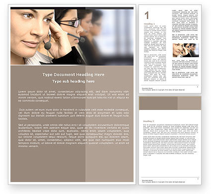 Call Center Word Template, 05070, Careers/Industry — PoweredTemplate.com