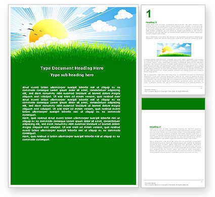 Nature & Environment: Sunrise Illustration Word Template #05081