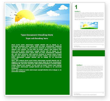 Sunrise Illustration Word Template, 05081, Nature & Environment — PoweredTemplate.com
