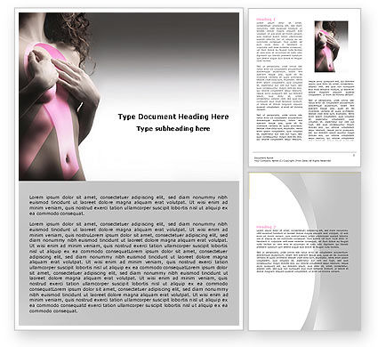 Breast Cancer Ribbon On The Naked Girl Body Word Template, 05103, Medical — PoweredTemplate.com