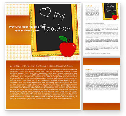 Education & Training: I Love My Teacher Word Template #05109