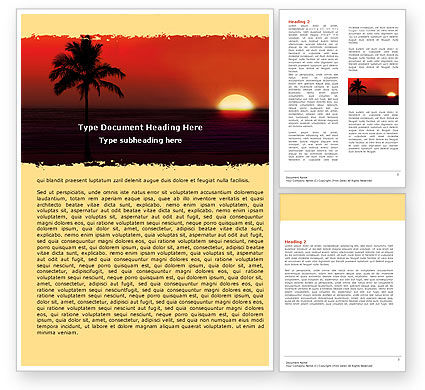 Tropical Sunset Word Template, 05128, Nature & Environment — PoweredTemplate.com
