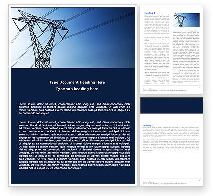 Power Lines Mast Word Template, 05131, Careers/Industry — PoweredTemplate.com