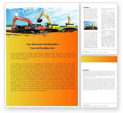 Excavator Word Template, 05136, Utilities/Industrial — PoweredTemplate.com