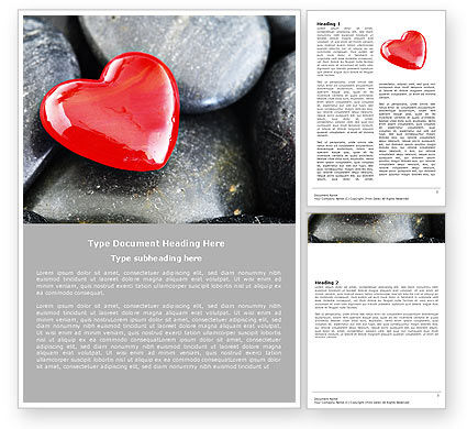 Red Heart Word Template, 05150, Holiday/Special Occasion — PoweredTemplate.com