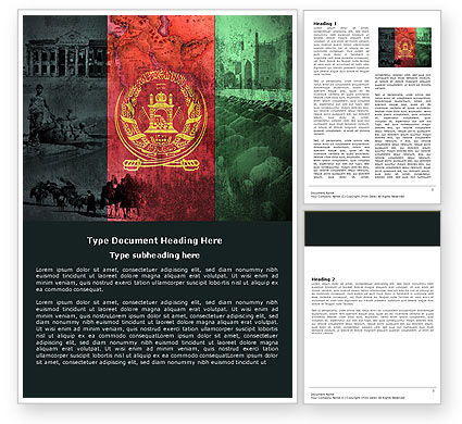 Afghanistan Word Template, 05152, Flags/International — PoweredTemplate.com