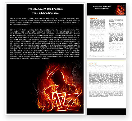 Jazz Word Template, 05158, Art & Entertainment — PoweredTemplate.com