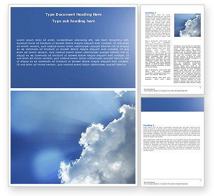 Sunshine Through Clouds Word Template, 05175, Nature & Environment — PoweredTemplate.com