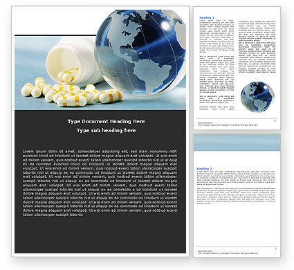 Bottle Of Tablets With Globe Word Template, 05180, Medical — PoweredTemplate.com
