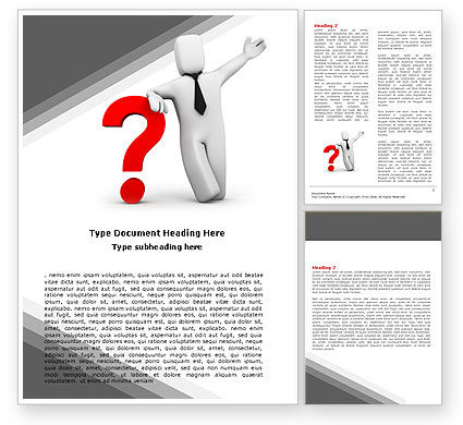 Red Question Mark Under Hand Of Man Word Template, 05202, Consulting — PoweredTemplate.com