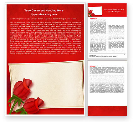 Red Roses Card Word Template, 05207, Holiday/Special Occasion — PoweredTemplate.com