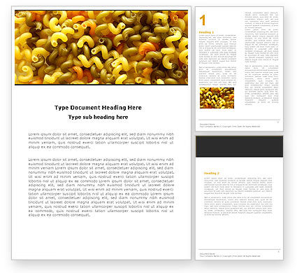 Macaroni Word Template, 05218, Food & Beverage — PoweredTemplate.com